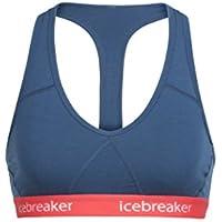 Icebreaker Wmns Sprite Racerback Sujetador de los Deportes, Mujer, Prussian Blue/Poppy Red, S