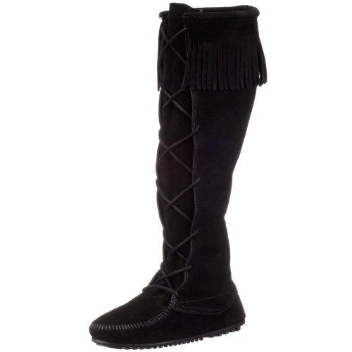 Minnetonka Front Lace Knee High Boot, Damen Langschaft Mokassin Boots, Schwarz (Black), 38 EU (Stiefel Mokassin)