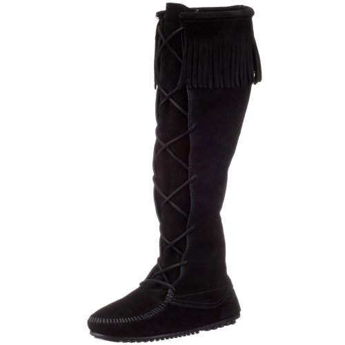 Minnetonka - Front Lace Knee High Boot, Stivali E Stivaletti da donna Nero (BlackBlack)