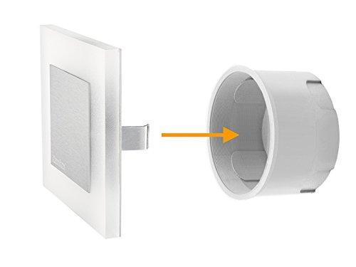 5 Stück LED Wand Einbau-Leuchte ideal für Treppen-beleuchtung – Moderne Form aus Edelstahl & Glas für 60mm Dosen warmweiß - 4