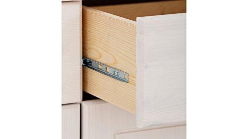 Sideboard, Holztür, Kiefer massiv, gebeizt geölt, havanna, weiß, Holzgriff, 4 Schubladen, T153 x B35 (weiß) - 5