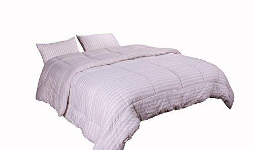 Newpoint Luxus Natur 100Prozent Jersey Baumwolle waschbar gewebtem Streifen Tröster Mini Set, Twin, Melange Taupe -