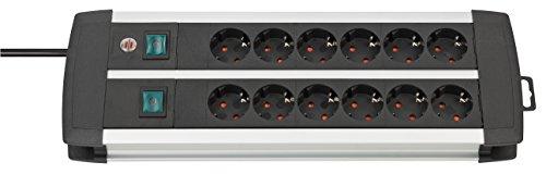 Brennenstuhl Premium-Alu-Line, Steckdosenleiste 12-fach - Steckerleiste aus hochwertigem Aluminium (mit 2 Schaltern für je 6 Steckdosen und 3m Kabel) Farbe: schwarz