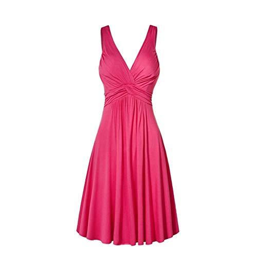 XuxMim Frauen-beiläufige Feste gekräuselte Taschen O-Ansatz verschieben tägliche geknöpfte Kleider(Rosa,XXX-Large