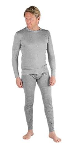 Sous-vêtements thermiques pour homme sous-pull t-shirt manches longues et caleçon long gris Gris M (91-96
