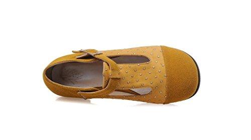 Beauqueen Pompe a forma di T Primavera E L'estate piatto Matte College di stile giallo rosso marrone nero 33-52 dei pattini casuali femminili delle donne Brown