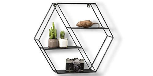 Lifa living mensola da muro design, metallo nero, mensole parete sospesa con 4 ripiani, porta oggetti, foto, stile vintage (esagonale)