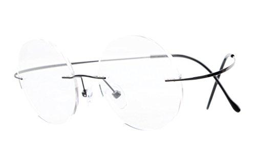 Eyekepper Titan Randlose Brillen Runde 46mm Kreis Optische Brillen Schwarz
