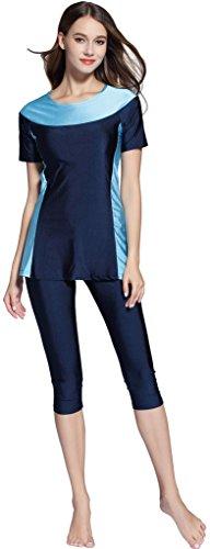 Ababalaya Damen Farbe Block Moderate Abdeckung 2 Stück Badeanzug Burkini,Marineblau,XXL (2 Bademode Stück)
