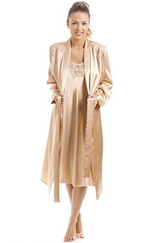 af891a4b54 Camille - Damen Nachthemd und Morgenmantel aus Satin im Set - Goldfarben