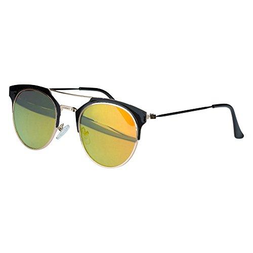 Sense42 Cat Eye Sonnenbrille Pantobrille Damen Flache Gläser Orange verspiegelt Metallrahmen Halbrand Schwarz