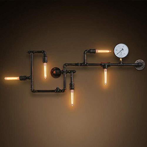 ZTMN E27 5 Lichter Wasserpfeife Wandleuchte, Eisen Industrie Wandleuchte Leuchte Waschlampe für Restaurant-A