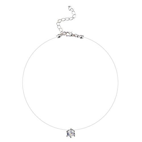 Kentop Damen Halskette Anhänger Kette Damen Nylonkette Transparent Halskette Angelleine Silber Anhänger mit Zirkonia