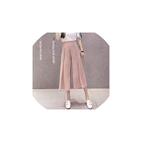 Strawberryran Hosen mit hohen Taille Frauen-Freizeit-Chiffoning, Rosa, L -
