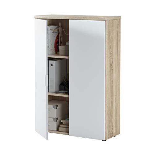 Habitdesign 0F5655A - Mueble Auxiliar despacho, Modelo Office, Blanco Artik y Roble Canadian, Medidas: 119 x 80 x 32,5 cm ...