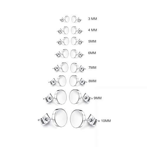 Edelstahl Herren Ohrstecker Creolen Tunnel Ohrringe für Damen Fakeplug Fake Plug Ohrringe Edelstahl Herren Pierced Earrings Schwarz Stainless Steel Mens Womens Stud Earrings Set (8 paar Edelstahl)