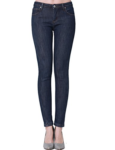 Camii Mia Damen Jeanshose Skinny Low Rise Jeans Fleece Gefürttert Denim Hose Slim Fit Trousers (31, Blau) - Rise Fleece