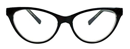 kleinere filigrane Damen Nerd Brille 50er 60er Jahre Cat Eye Brillengestell Klarglas CN90 ()