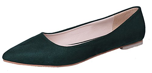 Aisun Femme Mode Suédé Plat Bout Pointu Ballerines Vert