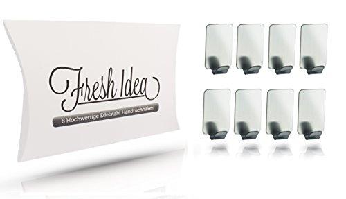 8 Stk. Premium Handtuchhaken selbstklebend - hochwertiger Handtuchhalter aus Edelstahl klebend - auch als Bademantelhaken anwendbar - Optimal für Küche, Bad, Flur, Werkstatt & Büro