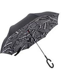 Pasabideak Paraguas reversible de doble capa, paraguas reversible plegable para coche con mango en forma de C resistente al viento y a la lluvia con protección UV 84 x 22 x 28 cm, negro, 84*22*28cm