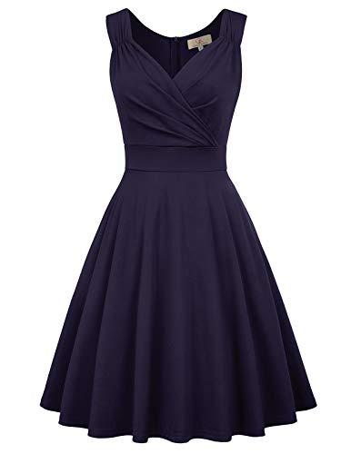 Marineblau Rockabilly Kleid Damen 1950er Kleid a Linie cocktailkleider trägerkleider CL698-3 2XL