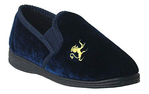 Boys Kids Youth Lion Motif Twin Gusset Slip On Velour Slippers UK 11-5