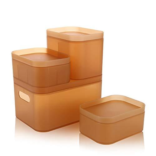 Happa Desktop Kosmetik lagerung matt Kunststoff Box Bad schminktisch Schreibtisch schutt Finishing Box geeignet (Color : Yellow)