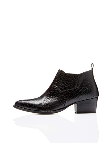 Find. croc embellished leather stivaletti, nero black), 38 eu