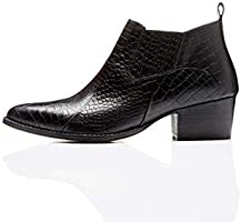Marque Amazon - find. Croc Embellished Leather, botines femme