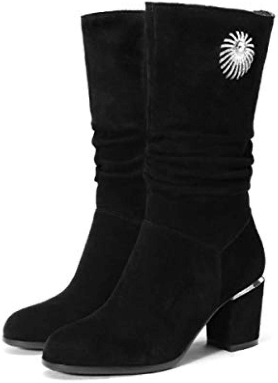 DANDANJIE Stivali Stivali Stivali Donna Blocco Tacco Mid-Vitello Stivali Strass Tacco Basso Scarpe Zip Stivaletti per Autunno... | Sale Online  146a23