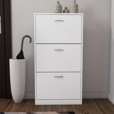 Torino 3 Drawer Shoe Cabinet in White - 9 Pairs