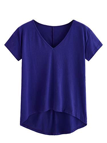 DIDK V Ausschnitt Oberteil, Damen T-Shirt Kurzarmshirt Einfarbig Tops Casual Oberteile Asymmetrisch Locker Sommer Shirts Tunika Top Reines T-Shirts Blau XL -