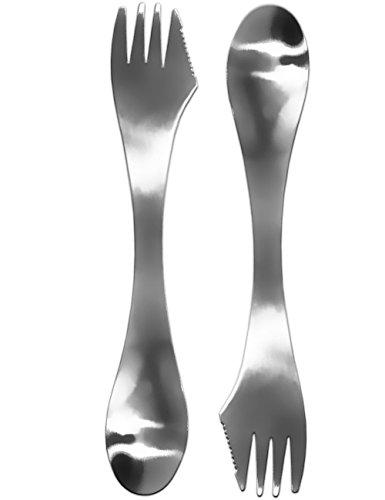 OUTDOOR SAXX® - 3-in-1 Camping Besteck | Messer Gabel Löffel | spart Gepäck und Gewicht durch Dreifach-Funktion | Edelstahl, robust, leicht | 2er Set