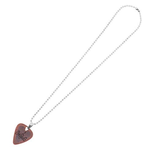 Fafeims Gitarren-Auswahl-Halskette, Metallzink-Legierungs-Gitarren-Auswahl-Plektrum-reizend Halsketten-hängende Geschenke(Rotkupfer)
