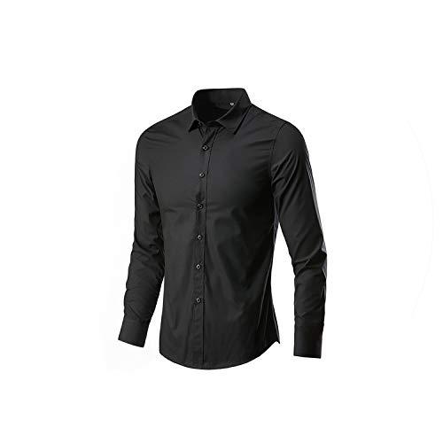 2019 Männer Langarm-Shirt Slim Fit Geschäft Masculina Casual Male Hawaii-Shirts, Schwarz, XXL