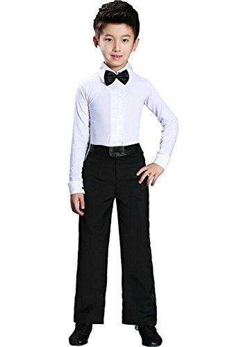 Tanz Jungen Kostüm Kinder - KINDOYO Jungen Klassiker Latein Tanz Hemd Kostüme Kinder Performance Tanzen Outfits , Weiß , 140/Geeignete Höhe-130cm