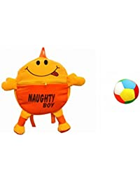 Jrp Mart Orange Naughty Boy Soft Toy Bag With Little Ball