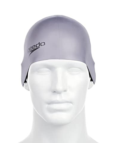 Speedo Adult Plain Moulded Silicone Swim Cap - Chrome, One Size