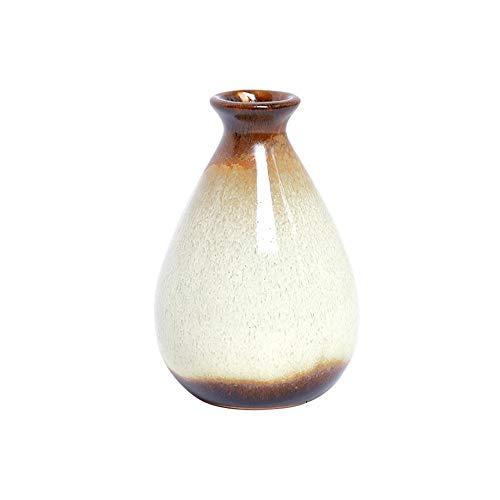 ZIXERN Wohnkultur Kreative Dekoration Dekoration Weinflasche Keramikflasche Home Wohnzimmer Schlafzimmer Desktop Kleine Vase Dekoration Schreibtisch Dekor (Color : Beige)