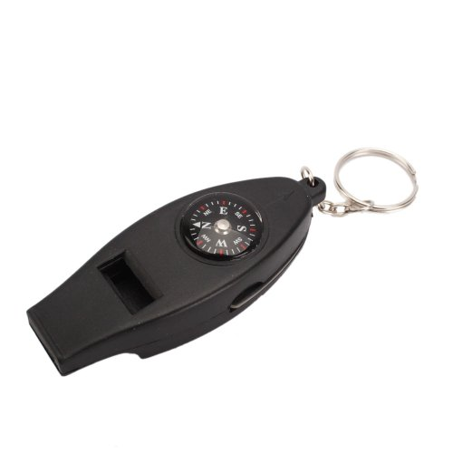 TOOGOO(R) 4 in 1 Mini-Schluesselanhaenger als Werkzeug fuer Selbsthilfe im Notfall,Thermometer Kompass Pfeife Lupe