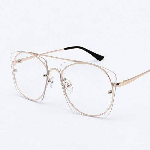 Anti-UV Retro Round Face Sonnenbrille für Damen und Herren Brille (Farbe : Gold)