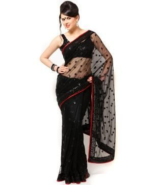 SARGAM FASHION Women\'s Net Saree With Blouse Piece (Sargam156_Black)