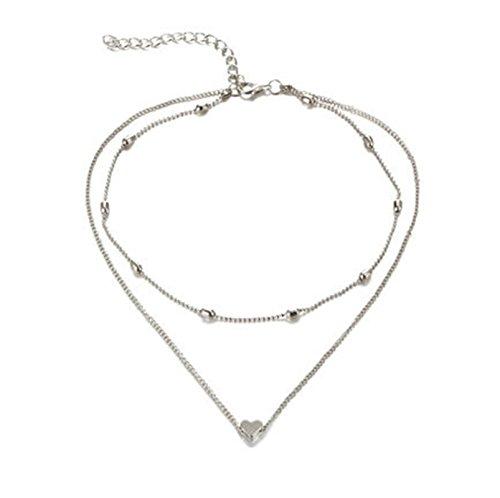 BeyDoDo Modcchumuck Damen Sexy Halskette mit Anhänger Herz Kreis Silber Kette (Kostüm Der Jack Herzen Karte)