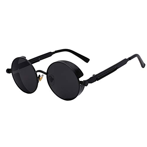 Daawqee NEW Mirror Lens Round Glasses Goggles Steampunk Sunglasses Vintage Retro For Men And Women Hisper Eyewear All Black