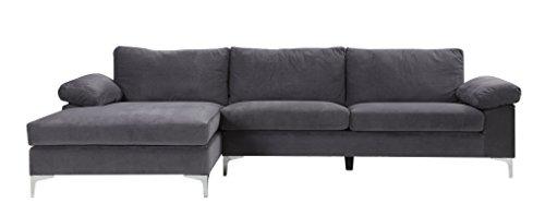 Divano angolare ampio e moderno, 5persone–tessuto in velluto–colori diversi–290/204x 77x 80cm, tessuto, grigio, 290/204x77x80 cm