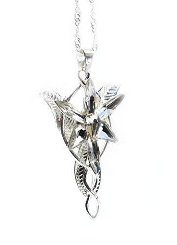 Réplique du pendentif d'Arwen, l'Étoile du Soir, en cristal, dans Le Seigneur des Anneaux. Boîte en velours rouge