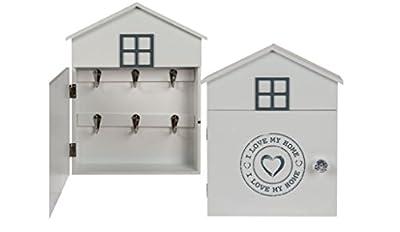 Schlüsselkasten Schlüsselschrank Holz Weiß I love my home Schriftzug 30 cm Höhe
