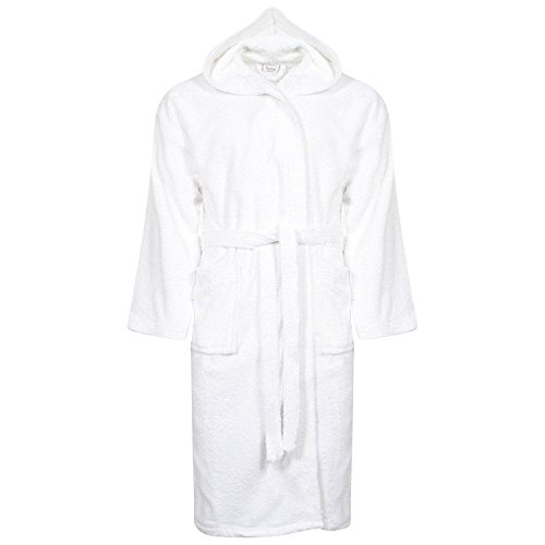 Womens 100% Egyption Cotton Bath Super Soft Veloue Towel Bath Robe Hooded Dressing Gown Ladies Night wear House Coat Lounge Wear With Pocket and Belt