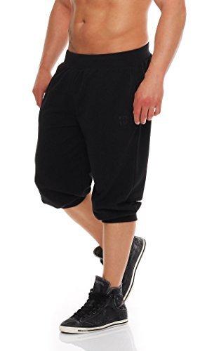 Gennadi Hoppe Herren 3/4 Trainingshose Jogginghose Bermuda Pant (L, schwarz) -